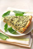 Sorrel tart with goat cheese. Piece of sorrel tart with goat cheese Stock Photography