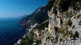 Sorrente, Positano, vue aérienne de côte d'Amalfi Campanie, Italie, coucher du soleil banque de vidéos