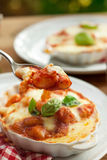 Sorrentina van Gnocchialla - Eigengemaakte gnocchi met tomatensaus bas Stock Afbeeldingen