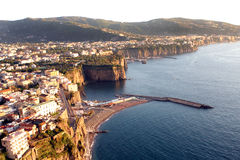 Sorrentine peninsula Coast Italy. The Sorrentine Peninsula coast in Southern Italy in the Bay of Naples stock photo