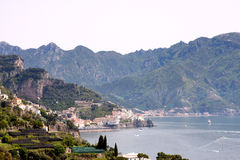 Sorrentine peninsula Coast Italy. Sorrentine Peninsula coast in Southern Italy in the Bay of Naples stock photo