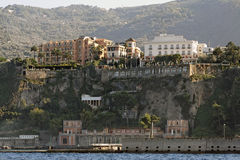Sorrento. The typical buildings and the harbour in Sorrento at the shore of the Mediterranean ocean, south of italy Stock Photos