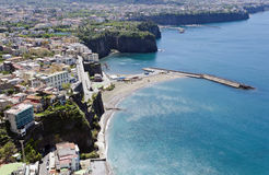 Sorrento. Is a small town in Campania, southern Italy. The town overlooks the Bay of Naples and Mount Vesuvius as the key place of the Sorrentine Peninsula ( Royalty Free Stock Images