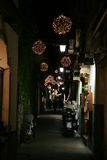 Sorrento alley by night. A typical narrow alley of sorrento in italy in christmas time Royalty Free Stock Images