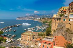 Sorrento, the Amalfi Coast in Italy. SORRENTO, ITALY - JULY 28, 2017: Panoramic aerial view of Sorrento, the Amalfi Coast in Italy in a beautiful summer day royalty free stock image