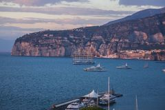 Sorrento Amalfi coast seaview. Five-masted ship in the bay royalty free stock image