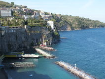 Sorrento, Bay of Naples. The Bay of Naples, Sorrento,Italy.  The pontoons are for sunbatning when you walk a steep walk off the cliffs hill top of the town Royalty Free Stock Photography