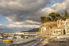Sorrento, Bay of Naples in Southern Italy. SORRENTO, ITALY - MAY 21, 2017: picturesque landscape in the port of Sorrento, Bay of Naples in Southern Italy Stock Photo
