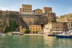 Sorrento, Bay of Naples in Southern Italy. SORRENTO, ITALY - MAY 21, 2017: picturesque landscape in the port of Sorrento, Bay of Naples in Southern Italy Stock Image