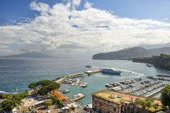 Sorrento, Bay of Naples in Southern Italy. SORRENTO, ITALY - MAY 21, 2017: picturesque landscape in the port of Sorrento, Bay of Naples in Southern Italy Royalty Free Stock Images