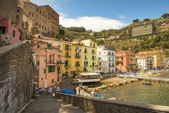 Sorrento, Bay of Naples in Southern Italy. SORRENTO, ITALY - MAY 21, 2017: picturesque landscape in the port of Sorrento, Bay of Naples in Southern Italy Royalty Free Stock Image