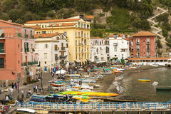 Sorrento, Bay of Naples in Southern Italy. SORRENTO, ITALY - MAY 21, 2017: picturesque landscape in the port of Sorrento, Bay of Naples in Southern Italy Royalty Free Stock Photos