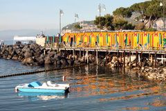 Sorrento Beach Italy. View of Sorrento beach with the beach Cabin in the Sorrentine Peninsula in the bay of Naples in South Italy Royalty Free Stock Image