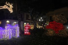 Sorrento bear. Teddy and lights in the main square of sorrento in italy in christmas time stock image
