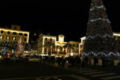 The sorrento christmas. The big christmas tree and the lights at sorrento in italy Royalty Free Stock Photos