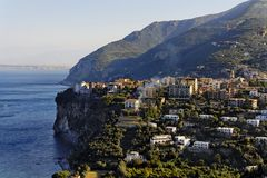 Sorrento City. The City of Sorrento Italy over the hills on top of the blue mediterranean sea Royalty Free Stock Images