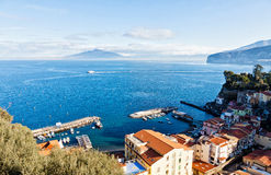 Sorrento city, Gulf of Naples and Mount Vesuvius, Italy. Picturesque morning view of Gulf of Naples and Mount Vesuvius. Sorrento city, Campania province, Italy Royalty Free Stock Photography
