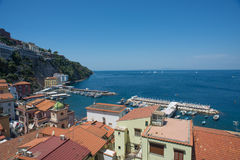 Sorrento city, Gulf of Naples and Mount Vesuvius, Italy. A sunny day in Sorrento, Italy Stock Image