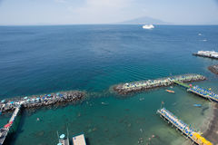 Sorrento city, Gulf of Naples and Mount Vesuvius, Italy. A sunny day in Sorrento, Italy Stock Photography