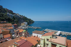 Sorrento city, Gulf of Naples and Mount Vesuvius, Italy. A sunny day in Sorrento, Italy Stock Photo