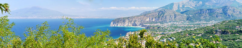 Panoramic view of Sorrento coast and Vesuvius. View of Sorrento, Mount Vesuvius and Gulf of Naples royalty free stock images