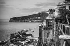 Sorrento coast on a cloudy day. Campania, Italy. Black and white effect royalty free stock images