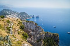 Sorrento coast, Italy. July 13: View of the Sorrento coast. View from the road to Sorrento. Sorrento is one of the most expensive resorts. beautiful view., on Royalty Free Stock Photography