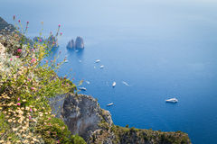 Sorrento coast, Italy. July 13: View of the Sorrento coast. View from the road to Sorrento. Sorrento is one of the most expensive resorts. beautiful view., on Royalty Free Stock Photos