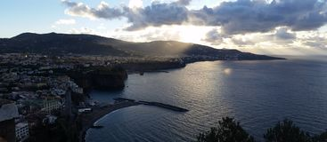 Sorrento Coast Panoramic Wiew. Photo Panoramic wiew of Sorrento Coast. Sorrento, Vico Equense, Meta, Castellammare di Stabia Royalty Free Stock Photo
