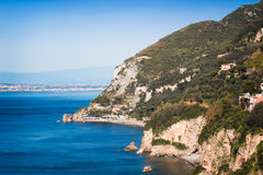 Sorrento coast, Sea, Beach,. Sorrento coast, Massa Lubrense Italy stock photography