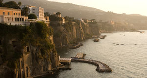 Sorrento Coast Sunset. Sun sets over the bay in Sorrento, Campania, Italy Royalty Free Stock Photos