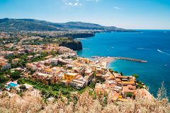 Sorrento coast town in Italy. Sorrento coast town colorful buildings in Italy Royalty Free Stock Photography