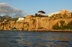 Sorrento coast view. Panorama of Sorrento cost at sunset, Italy Stock Photos