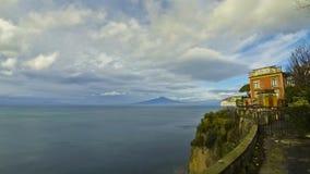 Sorrento coastline, Gulf of Naples and Mount Vesuvius stock video