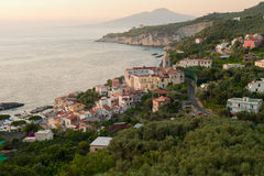 Sorrento in dusk. Soft early evening light illuminates the southern Italian resort town of Sorrento royalty free stock images