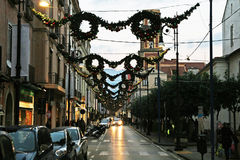 Sorrento garlands. The main street of sorrento in italy in christmas time Stock Image