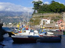 Sorrento Harbor with Boats, Hotels and Mountain Backdrop. Sorrento Harbor with Boats, Hotels, Mountain Backdrop royalty free stock photos