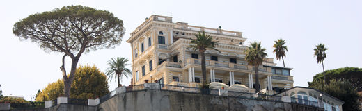 Sorrento Harbour Landmark Panorama. View from the Sorrento harbour looking up the approximately 100 foot straight rise to a landmark building Stock Photos