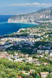 Sorrento panorama from the hills. View of Sorrento and Gulf of Naples on a sunny day royalty free stock photo