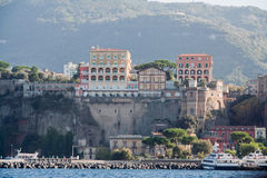 Sorrento Italy. The facade of the historical buildings over a cliff in Sorrento, south of Italy Stock Image