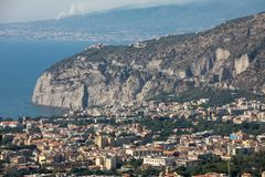 Aerial view of Sorrento and the Bay of Naples. Sorrento. Italy. Aerial view of Sorrento and the Bay of Naples stock photo