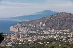 Aerial view of Sorrento and the Bay of Naples. Sorrento. Italy. Aerial view of Sorrento and the Bay of Naples stock photography