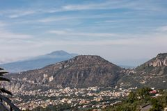 Aerial view of Sorrento and the Bay of Naples. Sorrento. Italy. Aerial view of Sorrento and the Bay of Naples royalty free stock photography