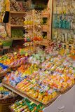 Bright colorful storefront selling soaps, candles and other souv. Sorrento, Italy - 2015-06-26 Display of Bright colorful storefront or giftshop selling citrus stock photography