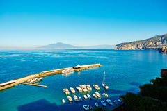 Sorrento, Italy. European resort. Sorrento, Italy - November 7, 2013: Elevated view of Sorrento and Bay of Naples. Sorrento is one of the towns of the Amalfi Stock Photo
