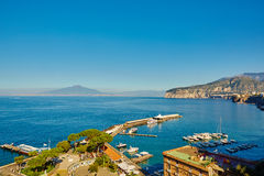 Sorrento, Italy. European resort. Sorrento, Italy - November 7, 2013: Elevated view of Sorrento and Bay of Naples. Sorrento is one of the towns of the Amalfi Stock Image