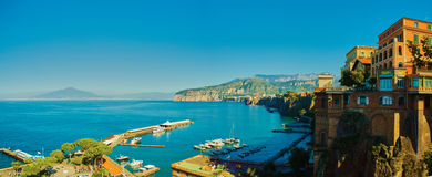 Sorrento, Italy. European resort. Sorrento, Italy - November 7, 2013: Elevated view of Sorrento and Bay of Naples. Sorrento is one of the towns of the Amalfi Royalty Free Stock Photos