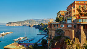 Sorrento, Italy. European resort. Sorrento, Italy - November 7, 2013: Elevated view of Sorrento and Bay of Naples. Sorrento is one of the towns of the Amalfi Royalty Free Stock Image