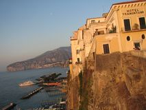 Sorrento Italy during the Golden Hour - Italy - The Beautiful Land. Sorrento is a coastal town in southwestern Italy, facing the Bay of Naples on the Sorrentine Stock Photo