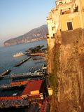 Sorrento Italy during the Golden Hour - Italy. Sorrento is a coastal town in southwestern Italy, facing the Bay of Naples on the Sorrentine Peninsula. Perched Royalty Free Stock Photography
